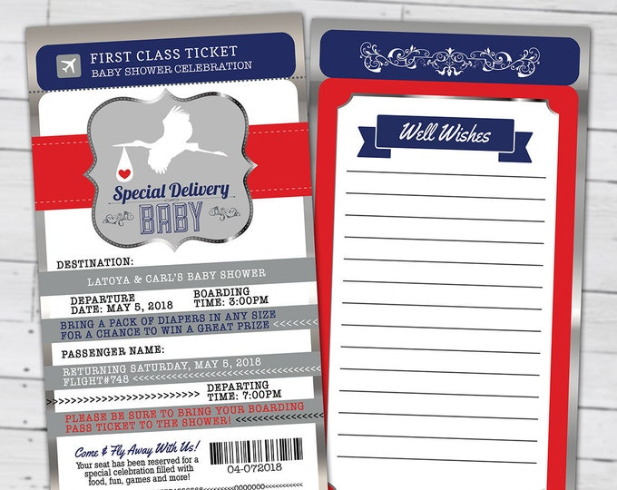 PASSPORT and TICKET baby shower invitation, Coed baby shower invitation- travel baby shower invitation, baby shower,Digital files only