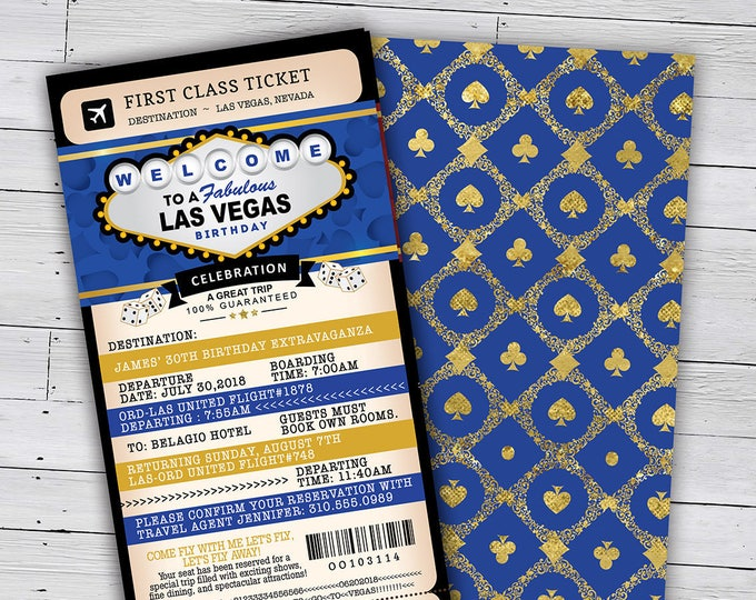 Las Vegas birthday party, PASSPORT and TICKET birthday invitation, travel birthday party invitation, custom passport, Vegas, Casino, poker