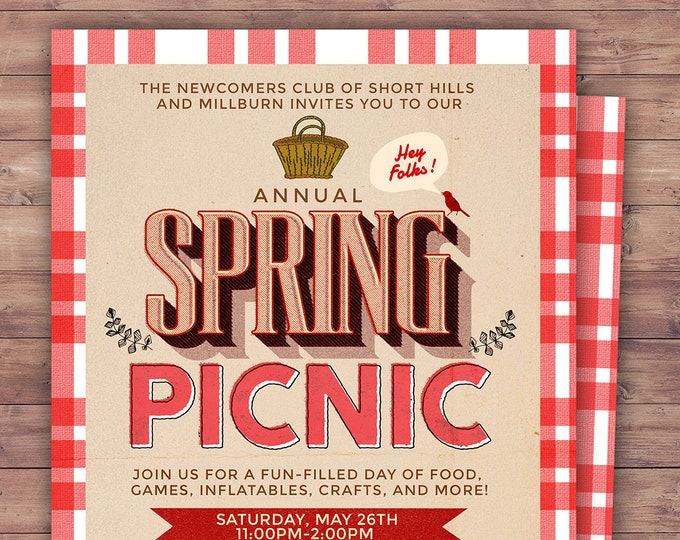 Neighborhood Picnic Invitation, company picnic, corporate picnic, BBQ, neighborhood bbq, picnic party, potluck, neighborhood party