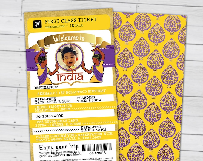 PASSPORT and TICKET invitation, India, Indian birthday- travel birthday party invitation-  sweet 16, Digital files only, Ganesh