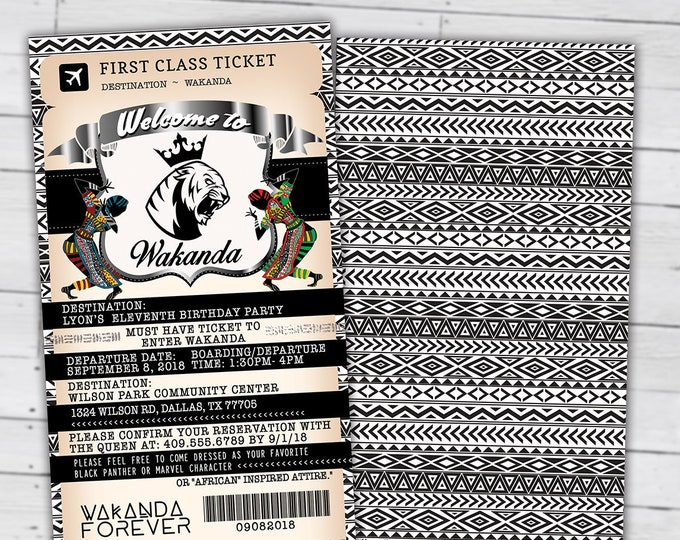 PASSPORT and TICKET Birthday invitation, Wakanda, Africa Passport, African Birthday, African Birthday, Panther, Digital files only