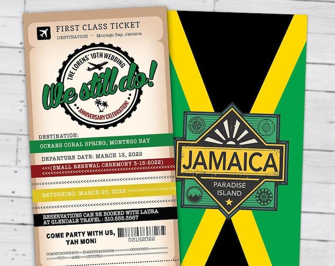 Passport and ticket  wedding anniversary invitation, wedding party invitation, cruise invitation, Jamaica, we still do, Digital files only