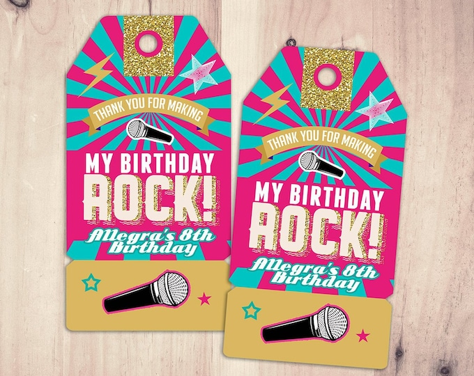 Party favor tag, Rock Star birthday, favor, boy birthday, personalized label, rock star party, rock star birthday, rock star, 80's, retro