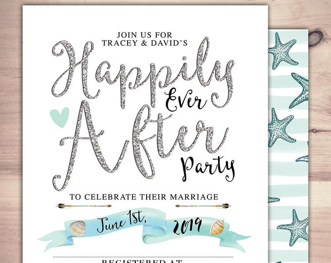 Happily ever after invitation, BOHO wedding shower Invitation, couples shower, arrows, beach, wedding, bridal shower invitation, nautical