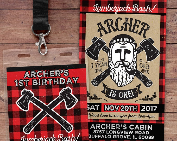 ANY AGE,Lumberjack birthday Invitation //  Buffalo Plaid Woodland Invitation // Lumberjack Invite // Rustic  //  camping, outdoors