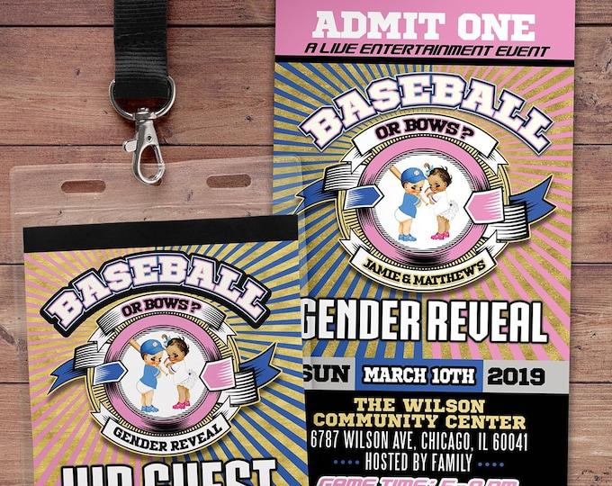 Baseballs Or Bows Invitation, Gender Reveal Invitation, Gender Reveal Invite, Baseball Or Bows, Baseballs Or Bows, Baseball baby shower