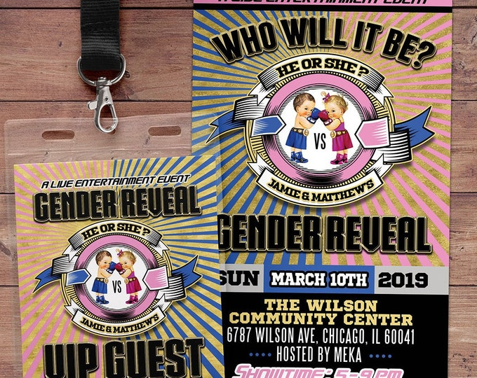 Gender Reveal Party Invitation, Boxing Gender Reveal, Boy or Girl, Gender Reveal Knockout, Invitation, Boxing invitation, Knock out