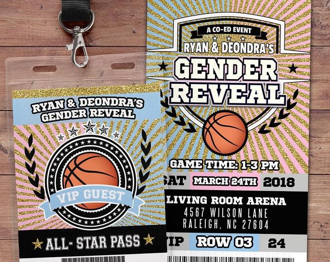 Basketball  ticket Invitation, Baby Shower, All Star Birthday, VIP pass,, gender reveal, sports birthday, baby boy, baby girl, Digital files