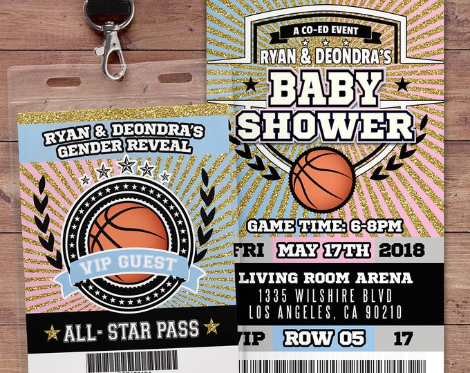 Basketball  ticket Invitation, Baby Shower, All Star Birthday, VIP pass,, gender reveal, sports birthday, baby boy, baby girl, Digital files