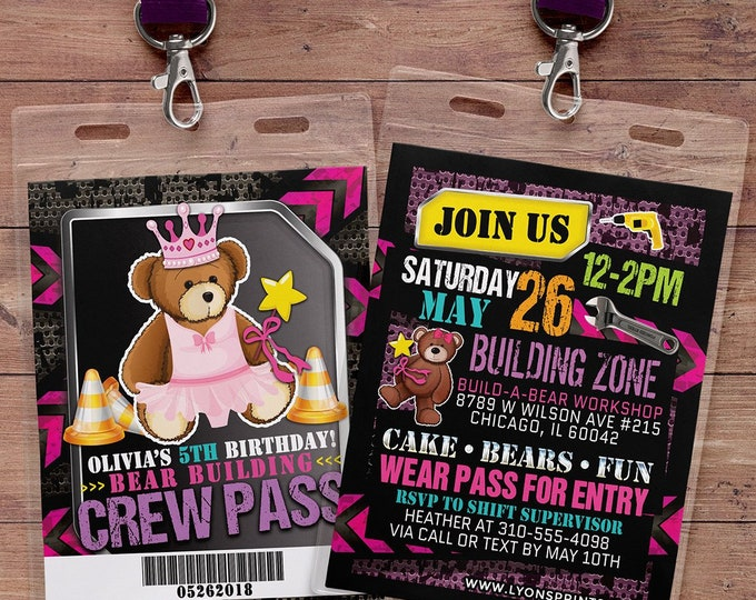 Build Bear Birthday Party Invitation, Teddy, boy birthday, girl birthday, princess party, construction, build bear birthday,  teddybear