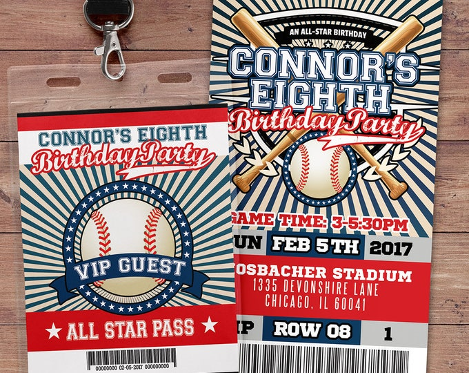 Baseball ticket Invitation // All Star Birthday //  VIP pass,, Baseball Party, sports birthday, ticket invite, Bar Mitzvah, lil slugger