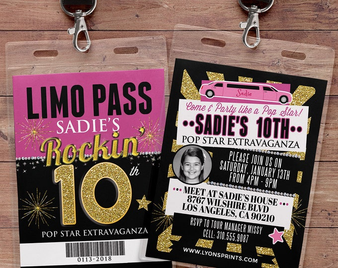 VIP PASS, Limo pass, Birthday party, 21st birthday, backstage pass, cocktail party, birthday invitation, pop star, bachelor, party bus