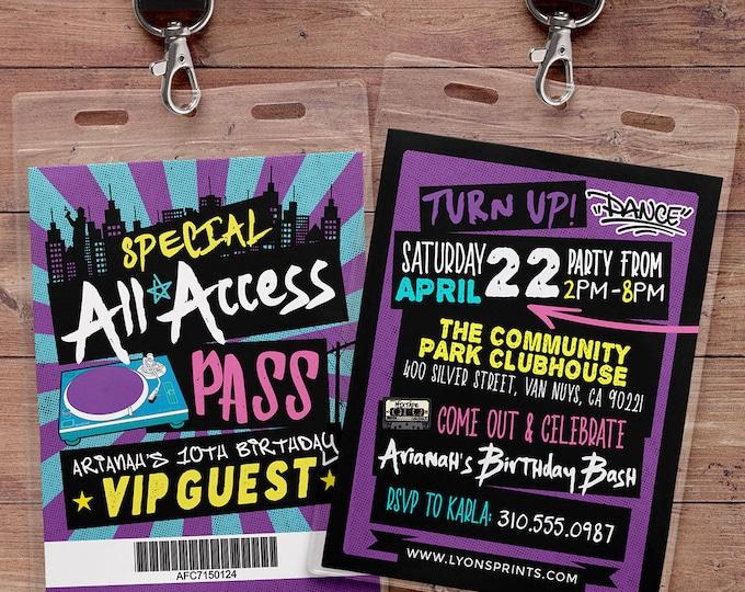 Hip Hop, Swagger, VIP PASS, backstage pass, Vip invitation, birthday invitation, pop star, lanyard, Digital files, Turn table