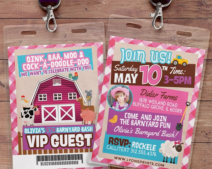 Farm Birthday Invitation, Farm Animals, Old McDonald invite, Barnyard, Farm Birthday Invitation, Barnyard Party, farm animals