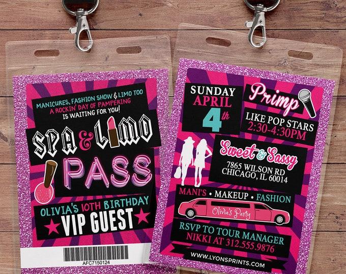 Spa party, primping, Pop star, Rock Star VIP pass birthday party invitation- primp, rockstar party, pop star, karaoke party, Digital files