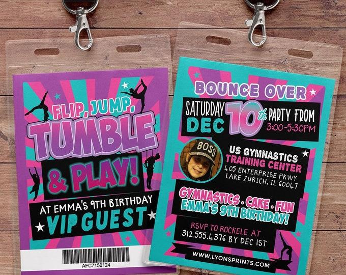 Gymnastic Invitations - Gymnastics Birthday Invitation - Gymnastics Party Invitation - Gymnastics Invite, VIP pass