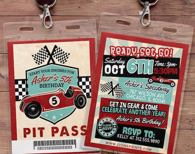 Retro Race Car Invitation | Vintage Race Car Invite | Race Car Birthday, VIP pass, hot rod, boy birthday, car invitation, motorcycle