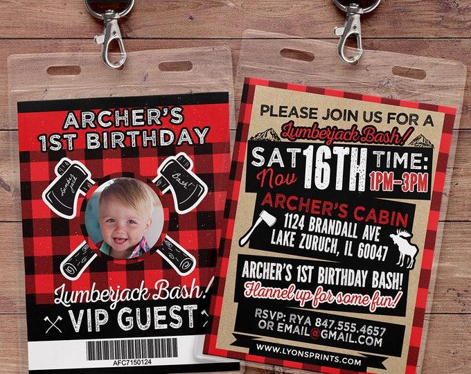 ANY AGE,Lumberjack birthday Invitation //  Buffalo Plaid Woodland Invitation // Lumberjack Invite // Rustic  //  camping, outdoors/ VIP pass