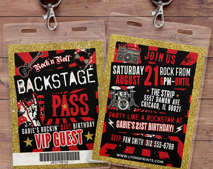 Punk Rock, VIP PASS, backstage pass, Vip invitation, birthday, pop star, rock star birthday, roller-skate party VIP, 80's,