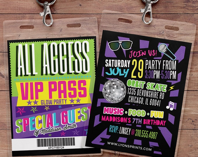 Retro, neon, VIP PASS, backstage pass, Vip invitation, birthday invitation, pop star,  lanyard, Glow party, skate party, 90s party