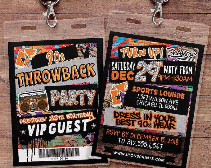 Hip Hop, glow party, VIP PASS, backstage pass, throwback party, birthday invitation, pop star, lanyard, Graffiti, birthday, neon, 90s party