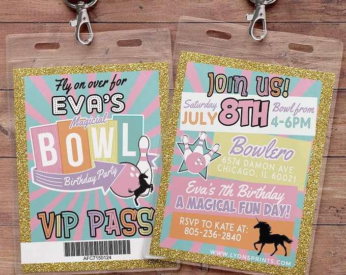 Bowling Invitation - Bowling Birthday Party Invite - Boy Bowling, girl bowling, VIP pass, retro bowling, bowling, Strike, Unicorn party