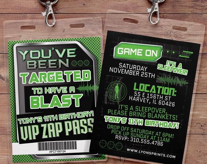 Laser tag invitation - VIP pass birthday invitations for laser tag party - Boys birthday party invitation - laser gun, video game