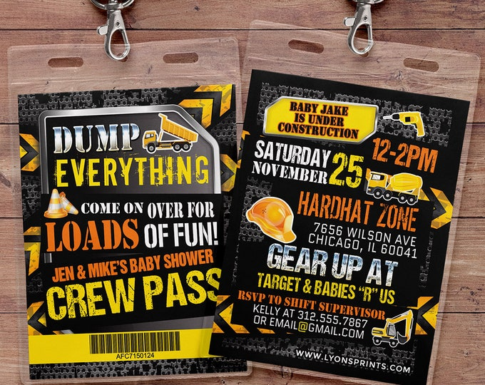 Under Construction Baby Shower invitation, Construction Invitation, Dump Truck, Tools Invitation, Crew pass, VIP pass