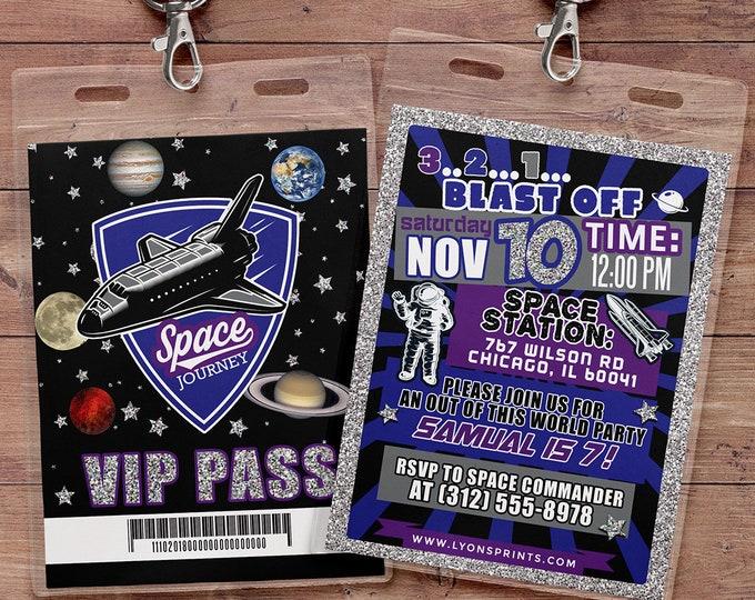 VIP pass, Outer Space Invitation, Solar System Invitation, Solar System Birthday Party Invitation, Planet Invitation, Invite, rocket ship,