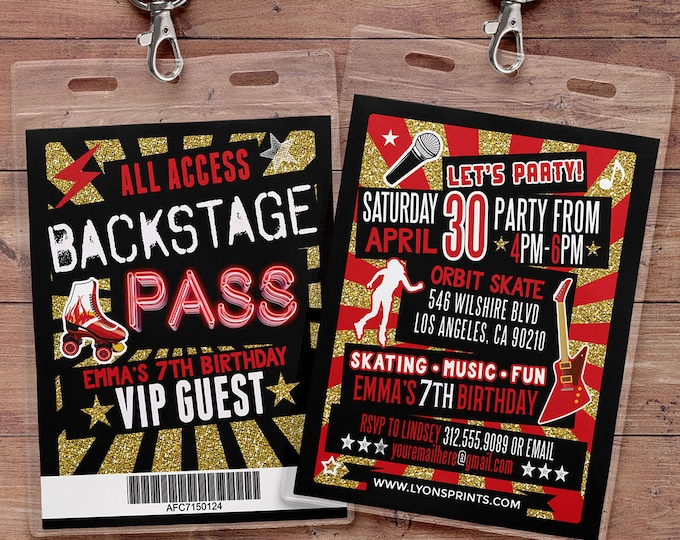 Retro, neon, VIP PASS, backstage pass, Vip invitation, birthday invitation, pop star, roller-skate party VIP, 80s, 90s, throwback party