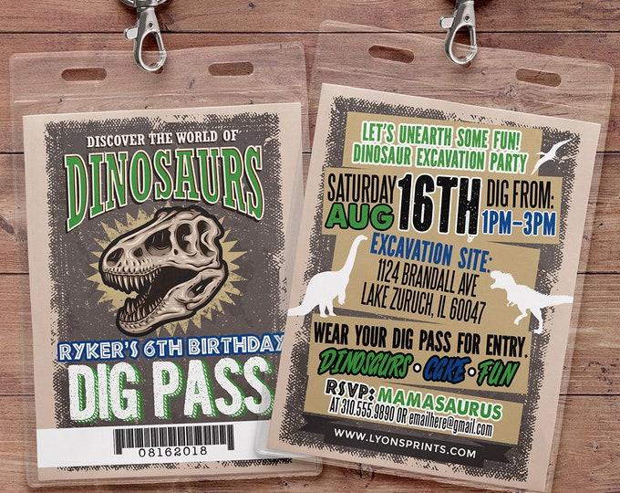 Dinosaur Dig Party Invitation, Dinosaur Birthday Boy Invitation, Boy Birthday Party, Dino Skeleton and Bones - Archaeologist, Fossil