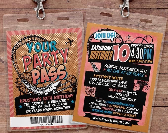 Amusement Park party, Super Hero party invitation, birthday invitations, roller coaster invite, theme park invite, VIP pass