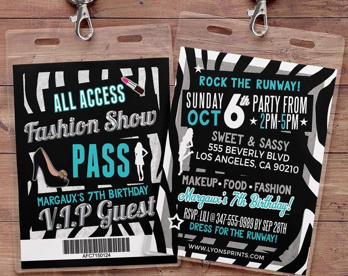 Rock the Runway, ticket birthday party invitation- popstar invitation-  rockstar party, fashion birthday, zebra print, high fashion, runway