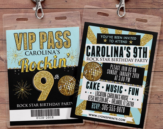 Any age, birthday invitation, rock star, VIP PASS, backstage pass, concert ticket, birthday invitation, wedding, baby shower, party favor