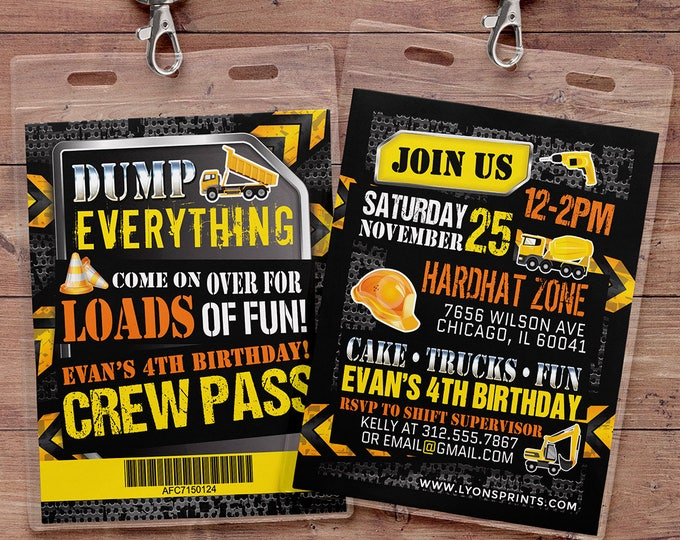 Construction Birthday Invitation Construction Birthday Party Construction Invitation Construction Party Invitation Dump Truck Birthday