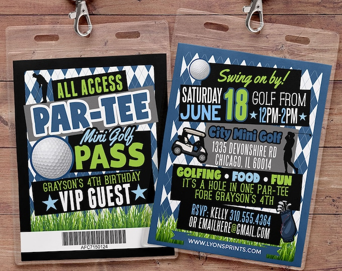 Miniature Golf Invitation , Golf Party Invite, Golf Birthday Invitation, hole in one invitation, boy birthday, girl birthday