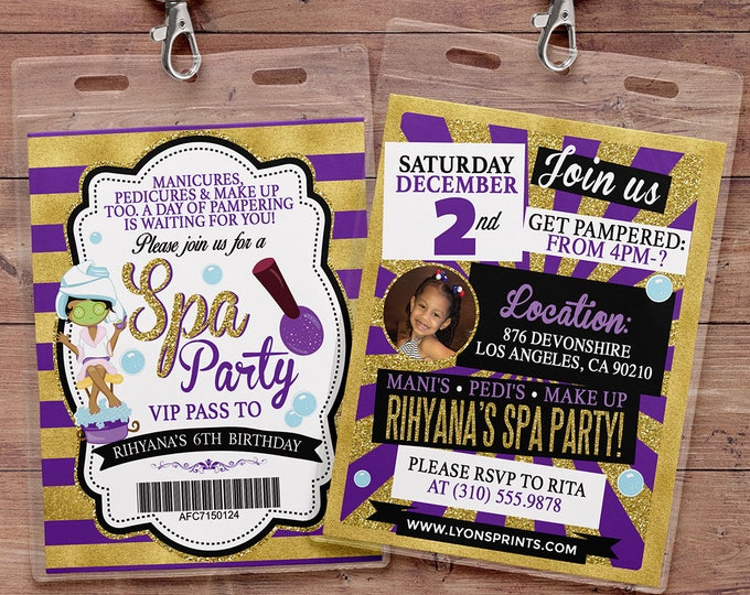 Spa party invitation, VIP PASS, backstage pass, Vip invitation, birthday invitation, pop star,  lanyard, Rock Star birthday, nail polish