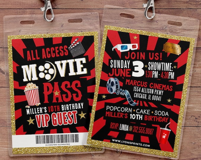 VIP Pass Birthday Invitation, Hollywood Birthday Invite, Red Carpet Sweet 16 Invitation, Hollywood Party