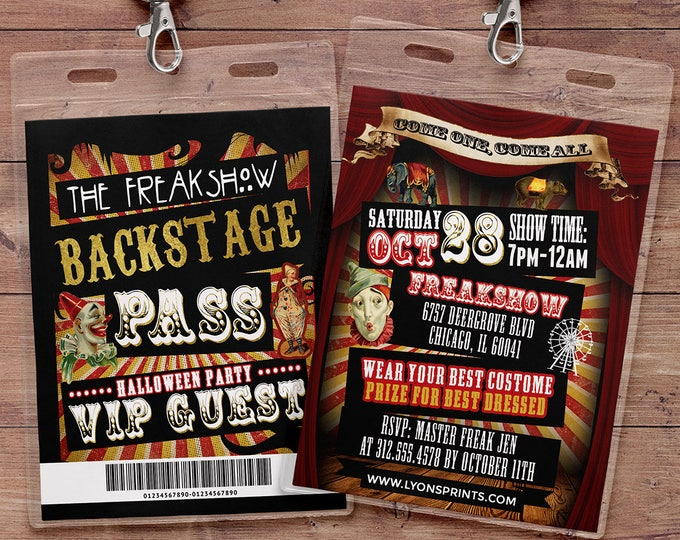 Carnival, Freak show, Halloween invite, Halloween party, Halloween invitation, Halloween, circus, vintage circus, carnival, VIP pass