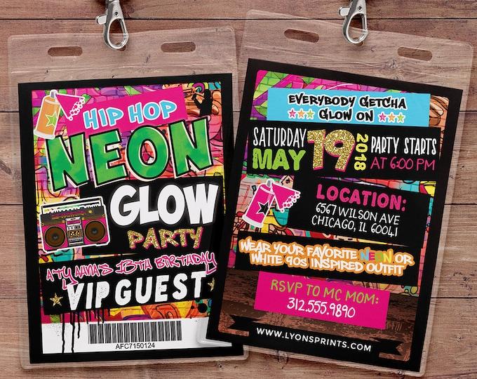 Hip Hop, glow party, VIP PASS, backstage pass, Vip invitation, birthday invitation, pop star, lanyard, Graffiti, birthday,90's party neon