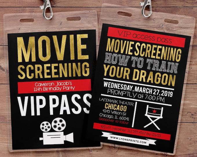 Movie pass, Hollywood Birthday, birthday invitation, VIP PASS, backstage pass, Vip invitation, birthday invitation, Movie party, popcorn
