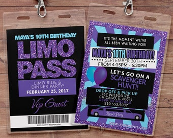VIP PASS, Limo pass, Birthday party, 21st birthday, backstage pass, cocktail party, birthday invitation, wedding, bachelor, party bus