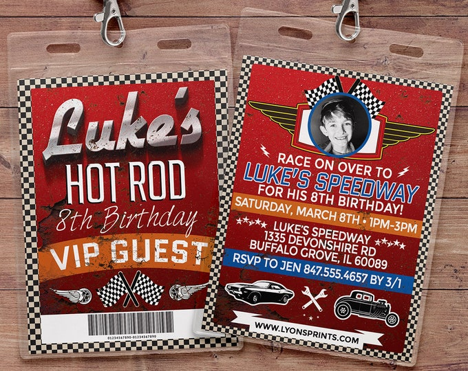 Retro Race Car Invitation | Pitt Pass, Vintage Race Car Invite | Race Car Birthday, VIP pass, boy birthday, car invitation, motorcycle
