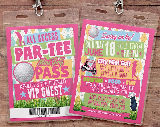 Miniature Golf Invitation , Golf Party Invite, Golf Birthday Invitation, hole in one invitation, boy birthday, girl birthday, Digital files
