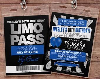 VIP PASS, Limo pass, Birthday party, 21st birthday, backstage pass, birthday invitation, wedding, bachelor, party bus, Digital files