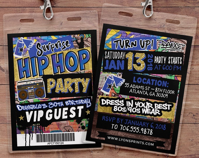 Hip Hop, glow party, VIP PASS, backstage pass, Vip invitation, birthday invitation, pop star, lanyard, Graffiti, birthday, neon, 90's party