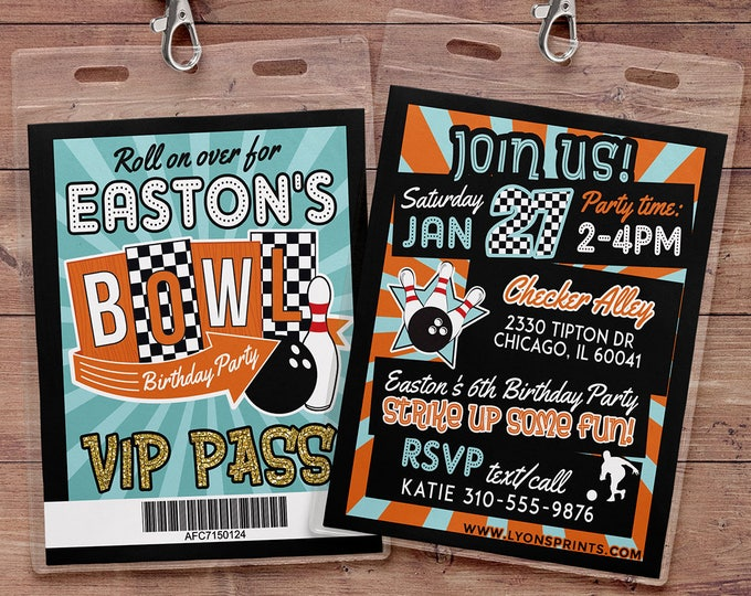 Bowling Invitation - Bowling Birthday Party Invite - Boy Bowling, girl bowling, VIP pass, retro bowling, bowling, Strike