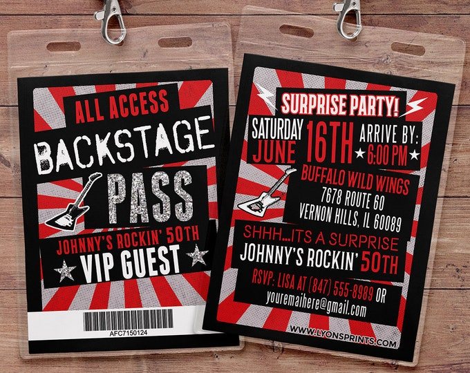 VIP PASS, backstage pass, concert ticket, birthday invitation, 40th, 30th, 21st, 50th, party favor, lanyard, rock star