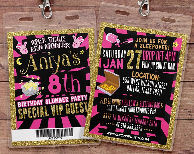 VIP pass, slumber party invitation / Pajama Party / sleepover invitation / spa sleepover invitation, sleepover party invitation, girl party