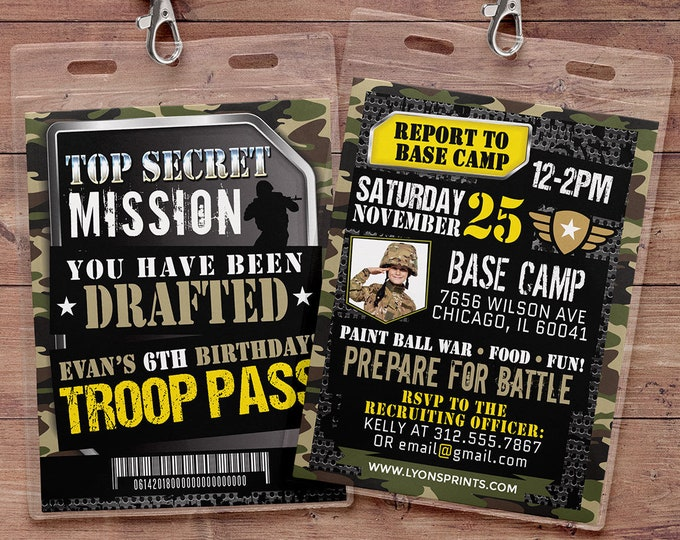 Army Invitation, toy gun invitation, paintball invitation, Army Camo Birthday Invitation, Military Party Boot Camp, Camouflage Invite